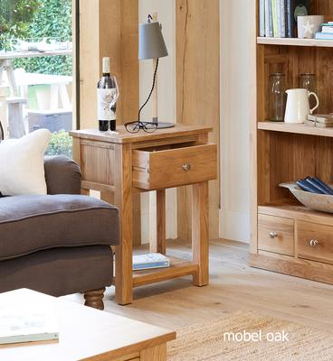 Mobel Oak One Drawer Lamp Table One Drawer image 2