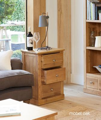 Mobel Oak Three Drawer Side Table