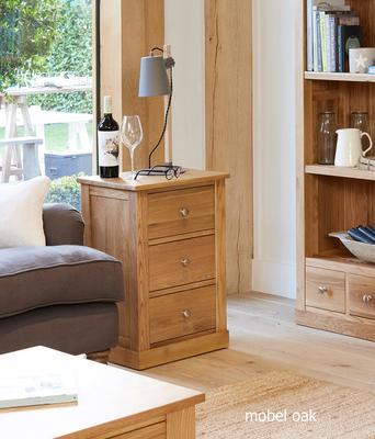 Mobel Oak Three Drawer Side Table image 2