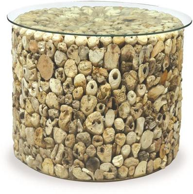 Driftwood Round Drum Lamp Table with Glass Top