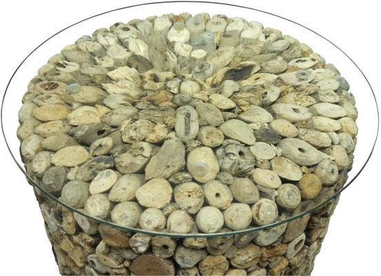 Driftwood Round Drum Lamp Table with Glass Top image 2