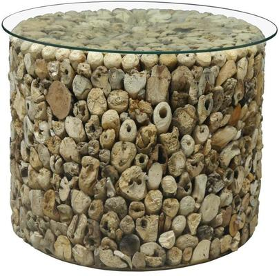 Driftwood Round Drum Lamp Table with Glass Top image 3