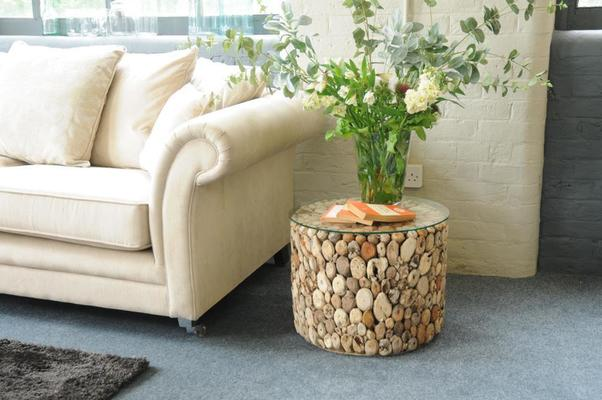 Driftwood Round Drum Lamp Table with Glass Top image 6