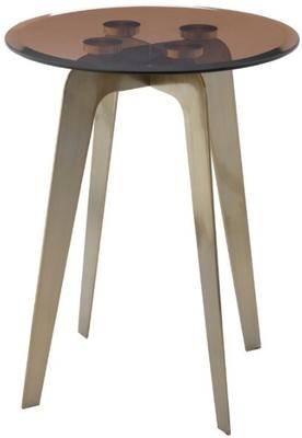 Volterra Accent Side Table Brass Legs Rust Glass Top