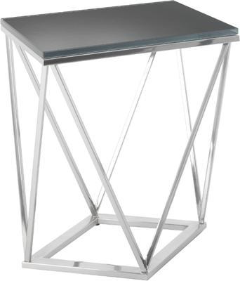 Gallane Geometric Side Table Nickel Frame Dark Glass Top