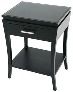 Modena Black Wood Modern Side Table Black Glass Top image 2
