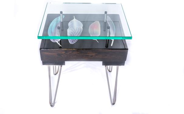 Bird Feather Side Table with Glass Top