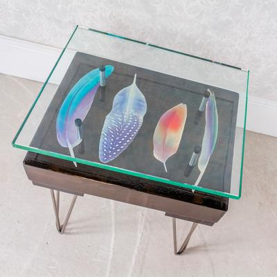 Bird Feather Side Table with Glass Top image 2