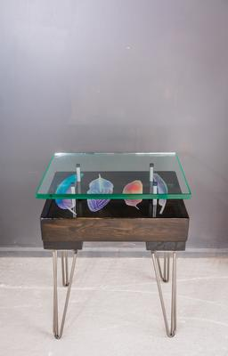 Bird Feather Side Table with Glass Top image 4