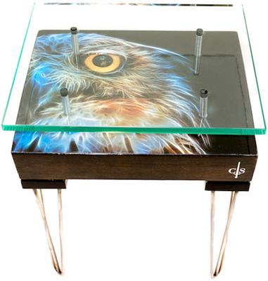 Electric Owl Side Table with Glass Top