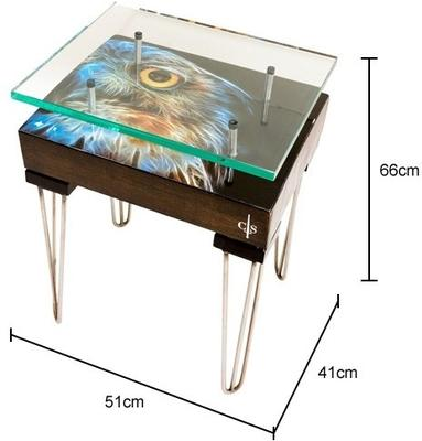 Electric Owl Side Table with Glass Top image 4