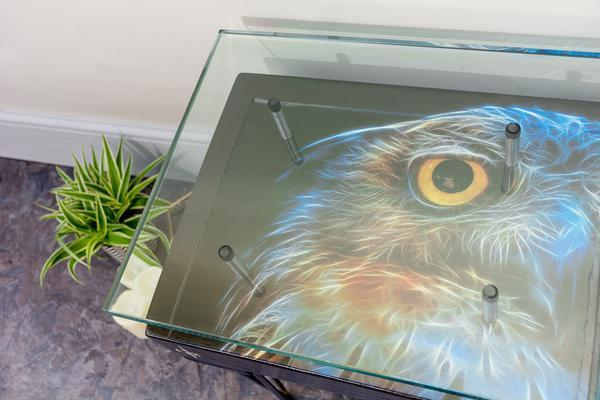 Electric Owl Side Table with Glass Top image 7