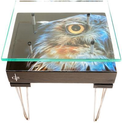 Electric Owl Side Table with Glass Top image 8