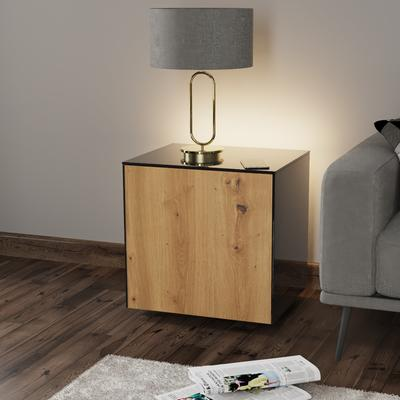 High Gloss Black and Oak Lamp Table with Wireless Phone Charger image 3