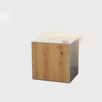 High Gloss White and Oak Lamp Table with Wireless Phone Charger