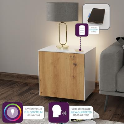 High Gloss White and Oak Lamp Table with Wireless Phone Charger image 2