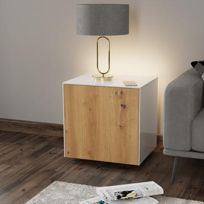 High Gloss White and Oak Lamp Table with Wireless Phone Charger image 3