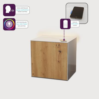 High Gloss White and Oak Lamp Table with Wireless Phone Charger image 4