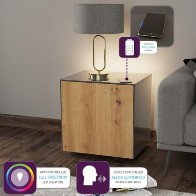High Gloss Grey and Oak Lamp Table with Wireless Phone Charger image 2