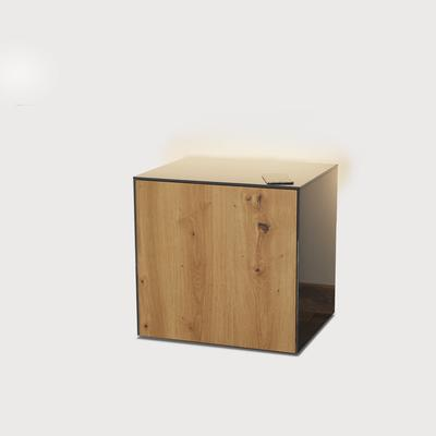 High Gloss Grey and Oak Lamp Table with Wireless Phone Charger