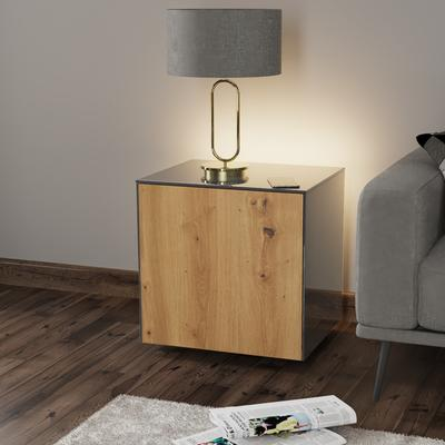 High Gloss Grey and Oak Lamp Table with Wireless Phone Charger image 3