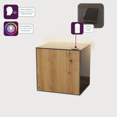High Gloss Grey and Oak Lamp Table with Wireless Phone Charger image 4