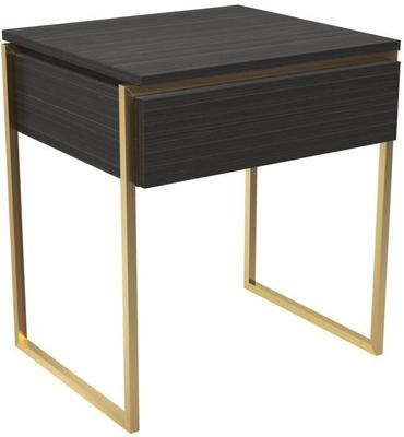 Federico Side Table One Drawer Black Wood and Metal