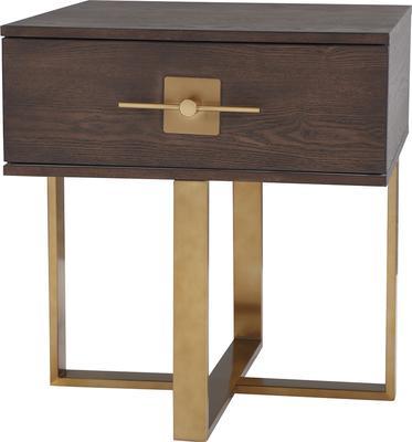 Ophir Dark Brown Oak and Brass Side Table