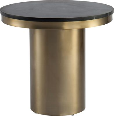 Camden Round Side Table Brass Frame Marble Top