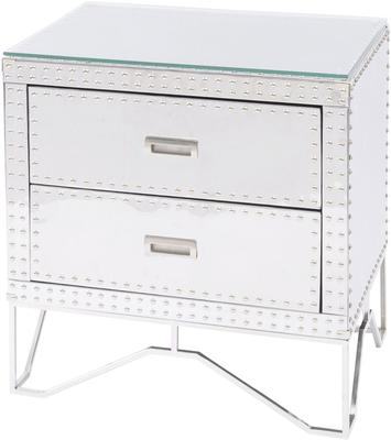 Duke Polished Silver Steel Studded Side Table Two Drawer