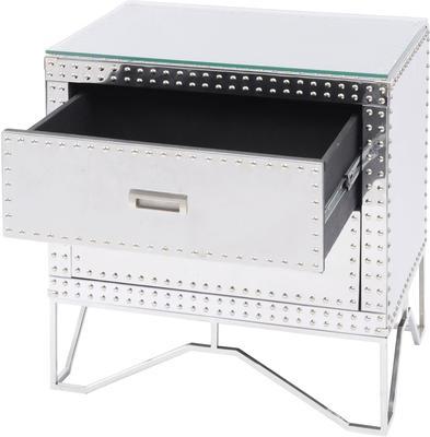Duke Polished Silver Steel Studded Side Table Two Drawer image 2