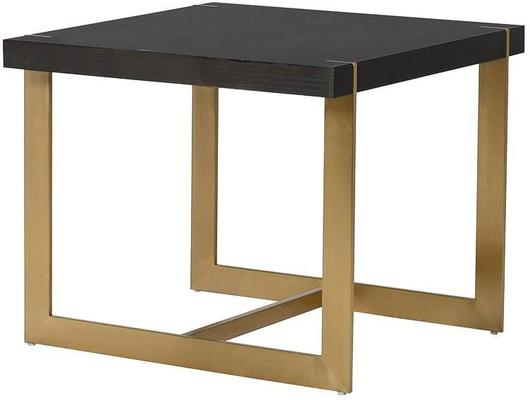 Morcott Black and Brass End Side Table