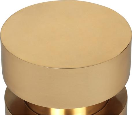 Drum Side Table Brass Top and Black Wood Base image 5