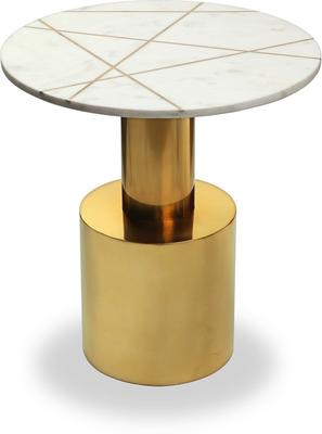 Havanna Side Table White Marble Top Polished Brass Bass