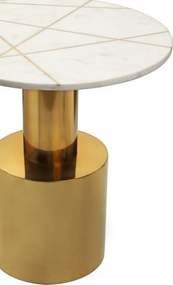 Havanna Side Table White Marble Top Polished Brass Bass image 2