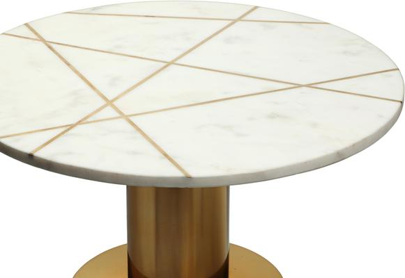 Havanna Side Table White Marble Top Polished Brass Bass image 3