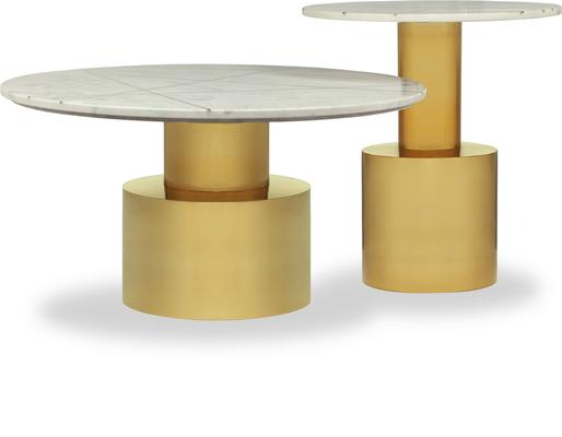 Havanna Side Table White Marble Top Polished Brass Bass image 5