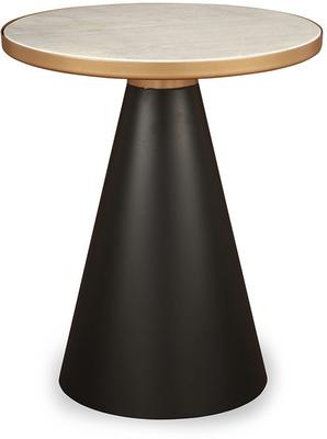 Tamon Black Iron and Gold Marble Side Table