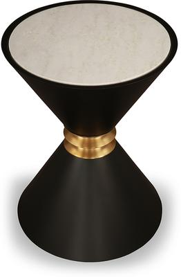 Sia Conical Side Table Black and White Marble