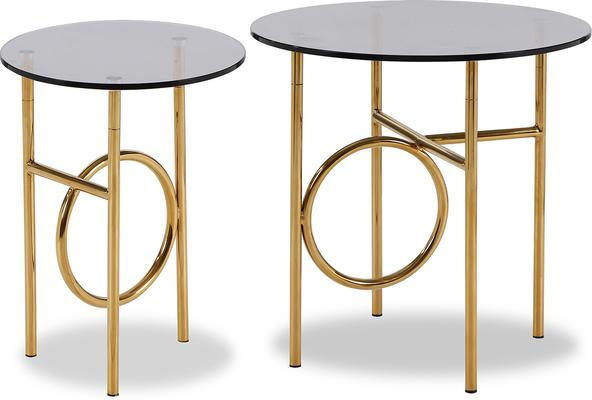 Memoire Side Table Smoked Glass and Brass Small or Large image 3