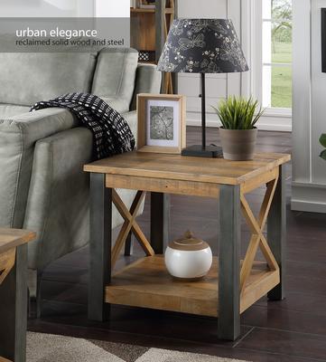Urban Elegance Lamp Table Reclaimed Wood and Aluminium