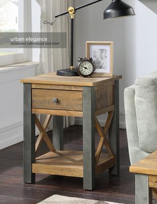 Urban Elegance Lamp Table With Drawer Reclaimed Wood and Aluminium