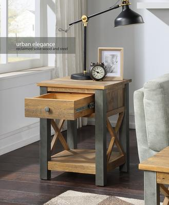 Urban Elegance Lamp Table With Drawer Reclaimed Wood and Aluminium image 2