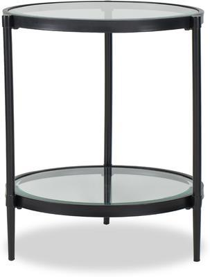 Adlon Round Glass Side Table in Dark Brown or Brass