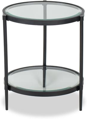 Adlon Round Glass Side Table in Dark Brown or Brass image 2