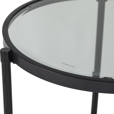 Adlon Round Glass Side Table in Dark Brown or Brass image 5