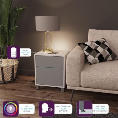 Frank Olsen LED Smart Click Side Table - White and Grey
