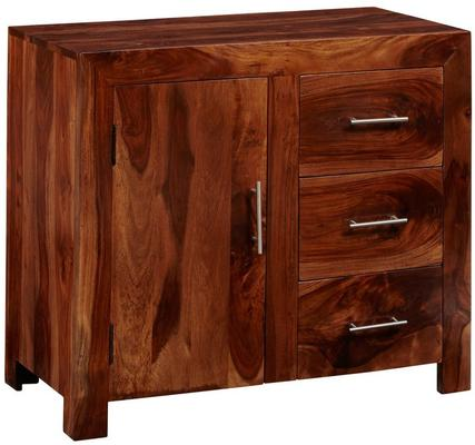Cube Sheesham Sideboard Rustic Hardwood - Small