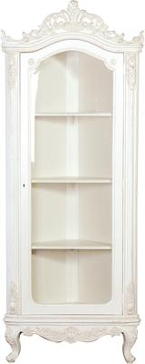 French Glazed Corner Cabinet White