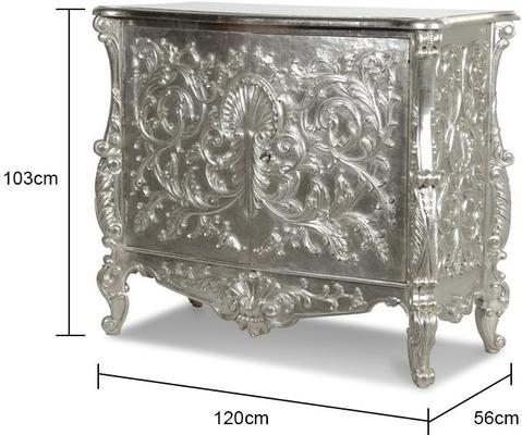 White Baroque Cupboard Carved Design image 3